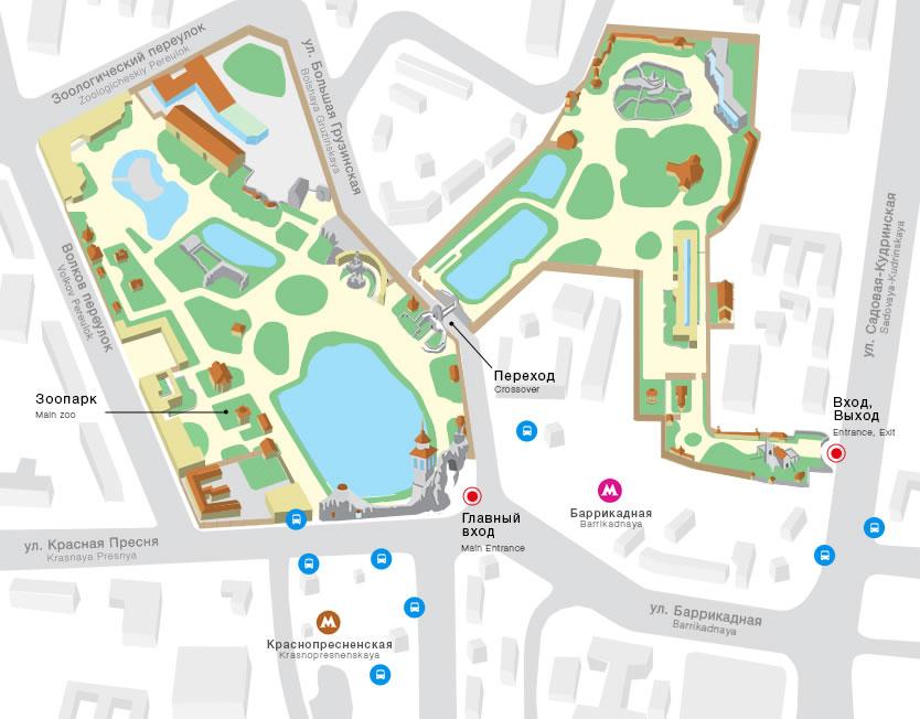 Схема проезда к Московскому зоопарку на баррикадной