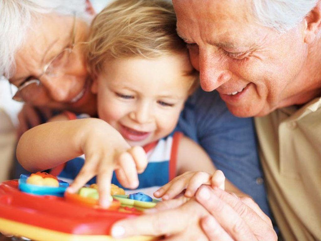 дедушка с бабушкой играют с внуком