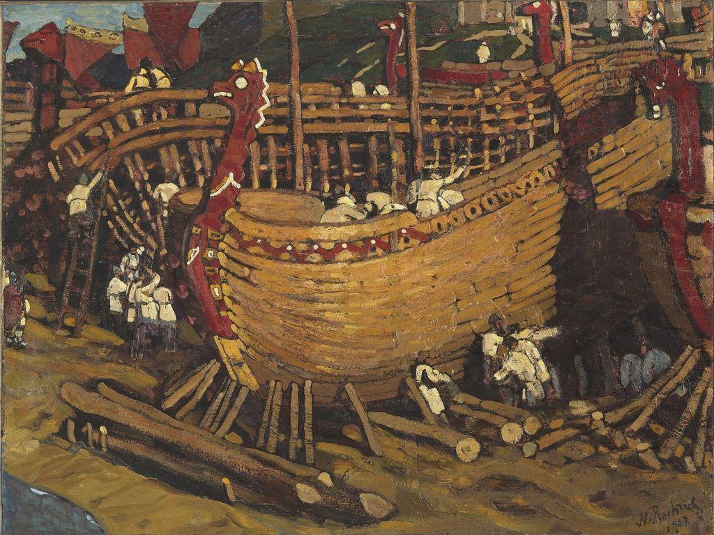 Картина Строят ладьи Рерих
