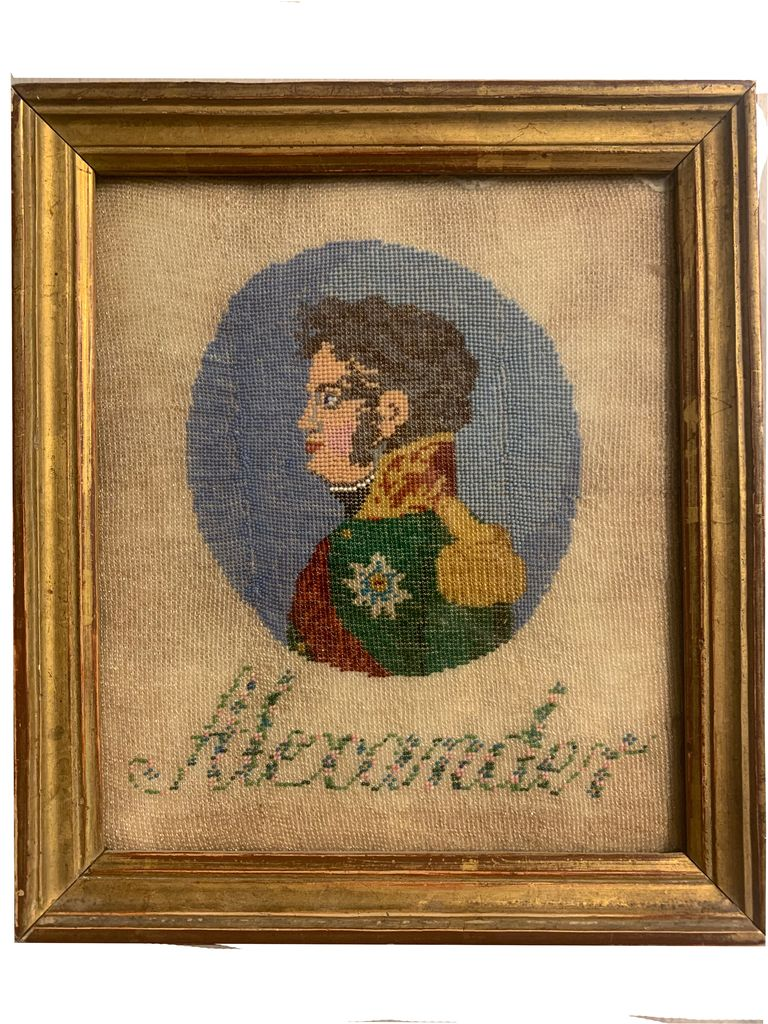 Вышитый портрет на выставке в Музее В.А. Тропинина